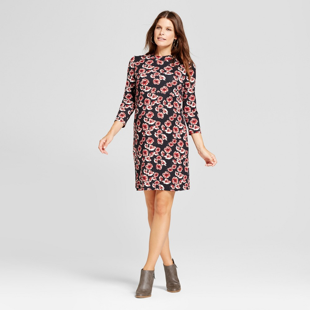 Maternity 3/4 Sleeve Printed Mock Neck Dress - MaCherie Black M, Womens