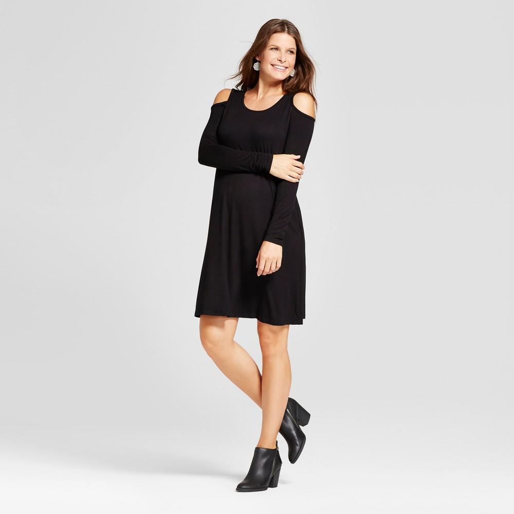 Maternity Long Sleeve Cold Shoulder Solid Dress - MaCherie Black L, Infant Girls