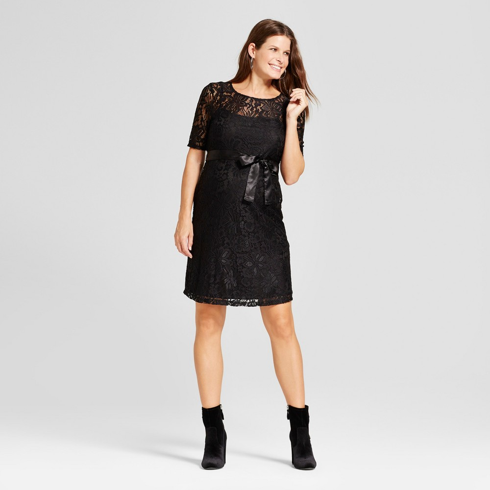 Maternity Elbow Sleeve Sash Belt Lace Dress - MaCherie Black S, Infant Girls