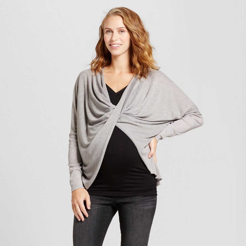 Maternity Long Sleeve Criss Cross Top - MaCherie Heather Gray M, Infant Girls