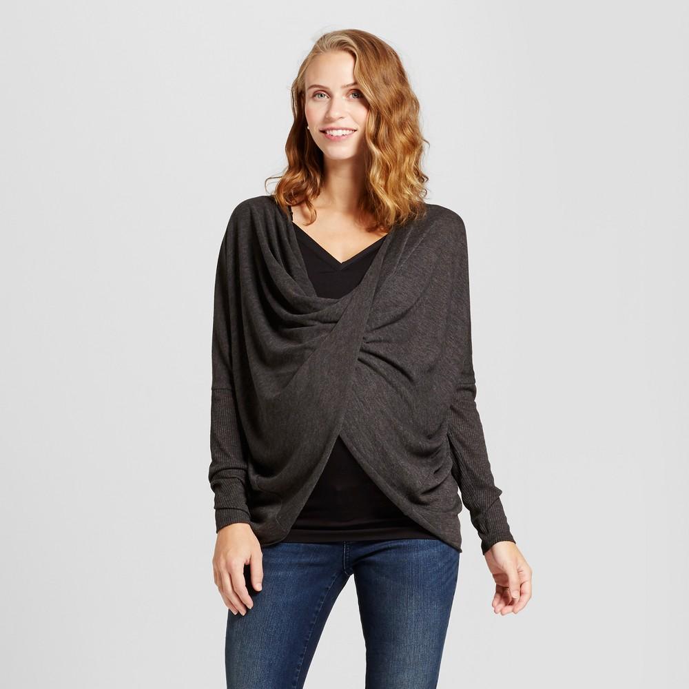 Maternity Long Sleeve Criss Cross Top - MaCherie Charcoal (Grey) XL, Infant Girls