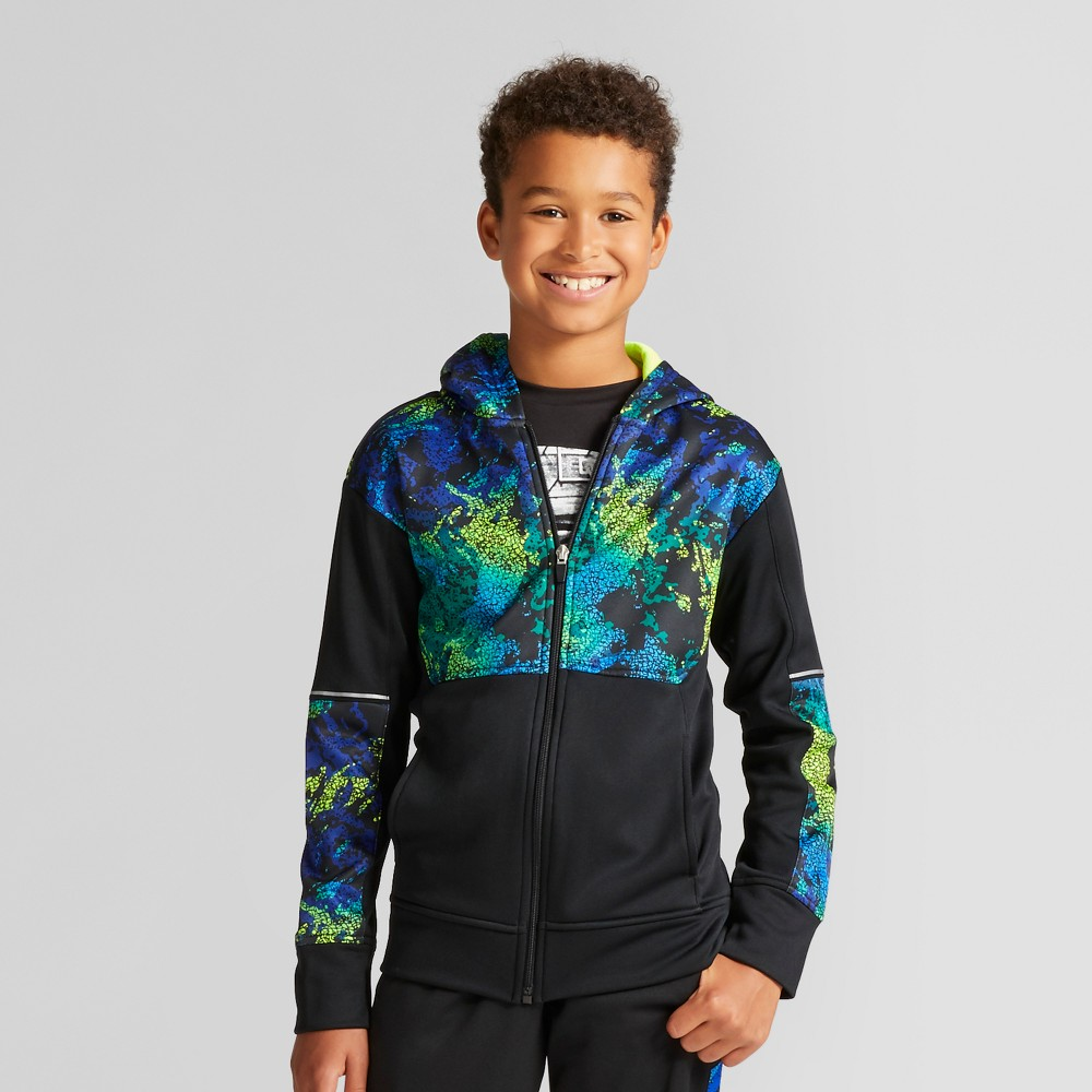 Boys' Printed Camo Tech Fleece Full Zip Sweatshirt - C9 Champion Black L