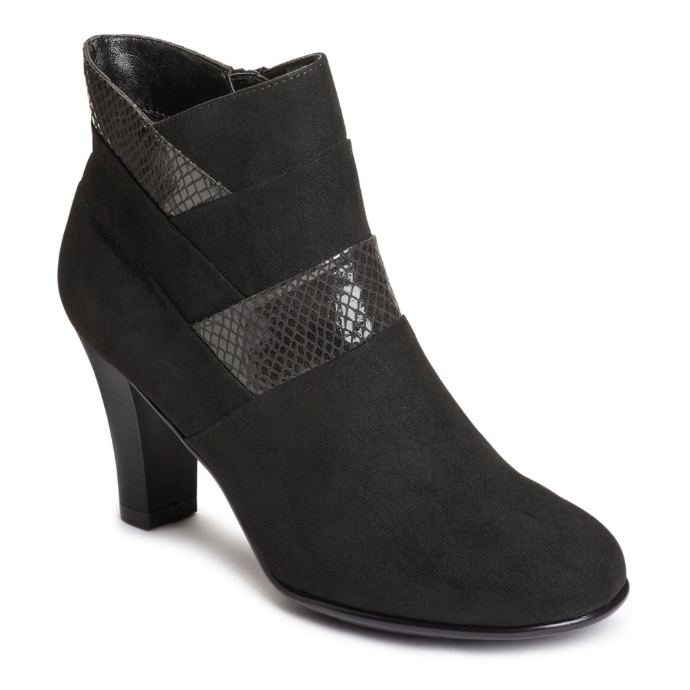 Womens A2 by Aerosoles Best Role Snake Print Ankle Boots - Midnight Black 6.5