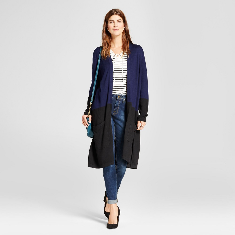 Womens Colorblocked Duster Cardigan with Pockets - August Moon Navy/Black XL, Blue