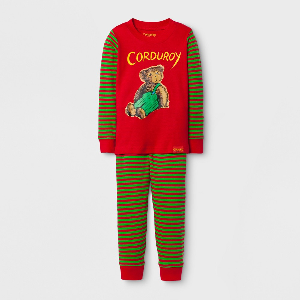Eric Carle Toddlers' Corduroy Long Sleeve Pajama Set - Red 4T, Toddler Boy's, Multicolored