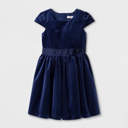 Girls' Velvet Classic Collection A Line Dress Cat & Jack™- Nightfall Blue
