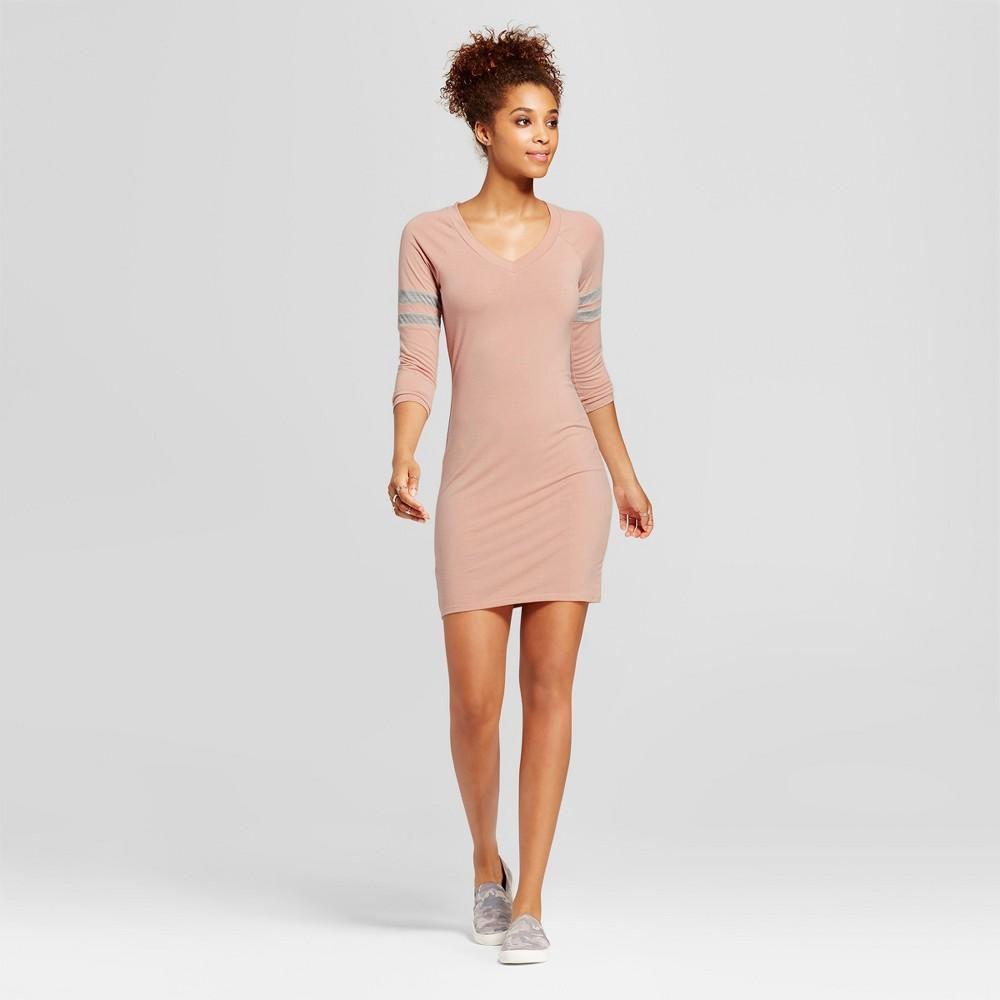 Womens Colorblock Raglan Arm Stripe Dress - Almost Famous (Juniors) Rose (Pink) S