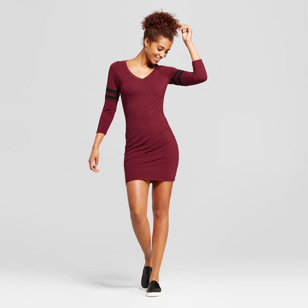 Womens Colorblock Raglan Arm Stripe Dress - Almost Famous (Juniors) Red M