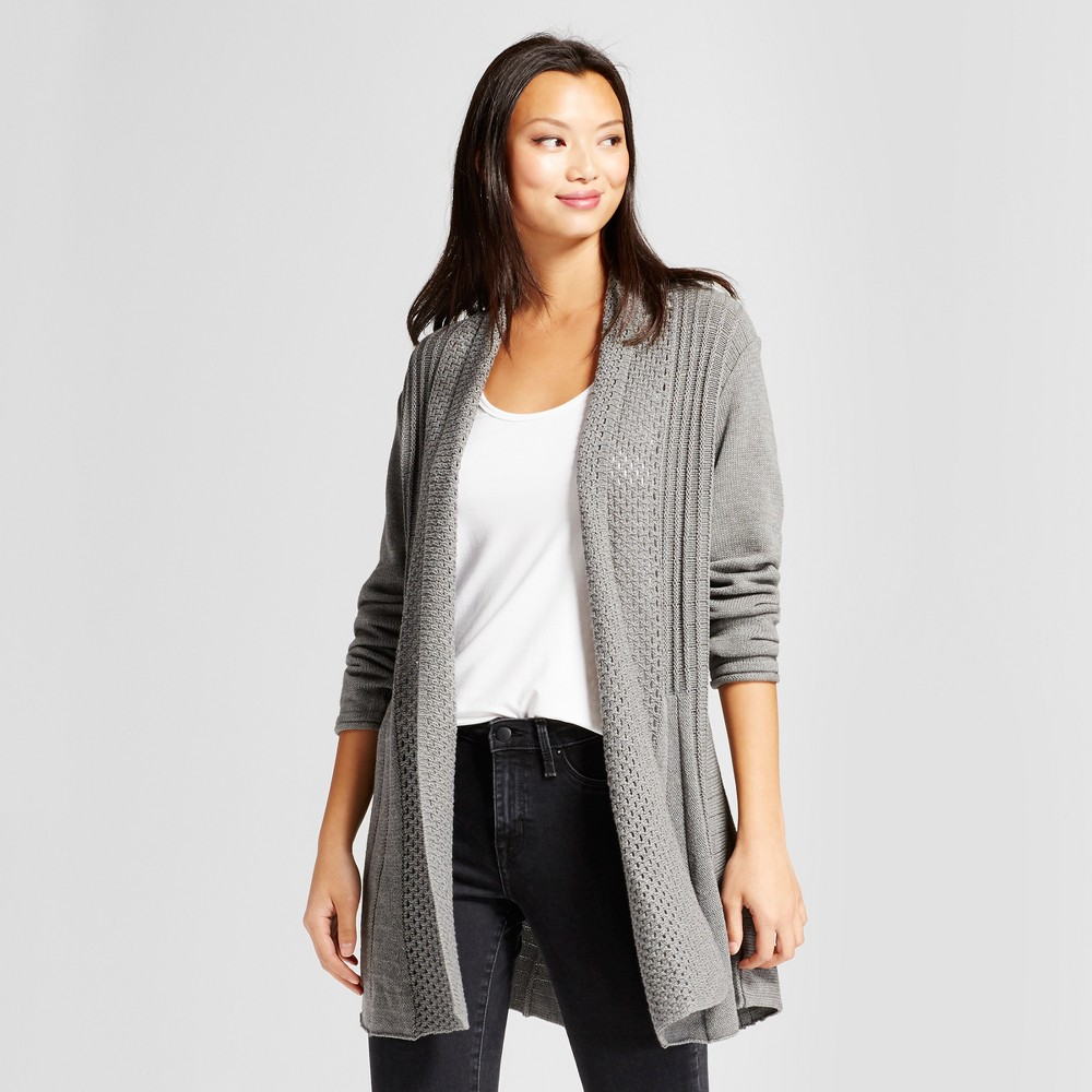 Womens Textured Open Cardigan with Shawl Neck - Notations Gray XL