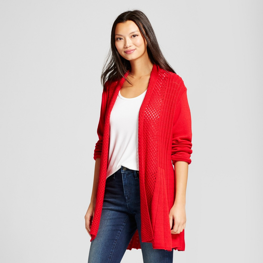 Womens Textured Open Cardigan with Shawl Neck - Notations Red S