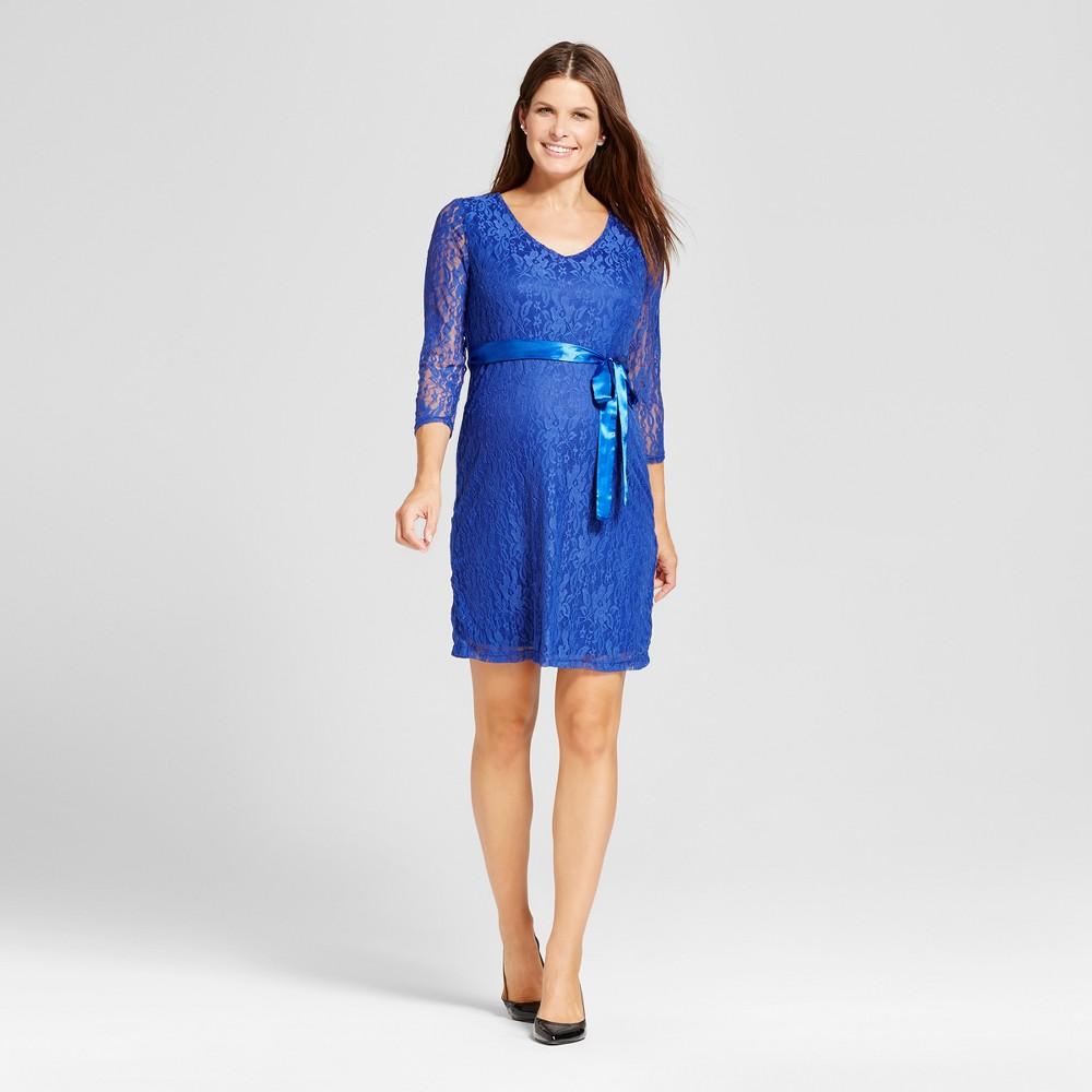 Maternity 3/4 Sleeve Sash Belt Lace Dress - MaCherie Royal Blue M, Infant Girls