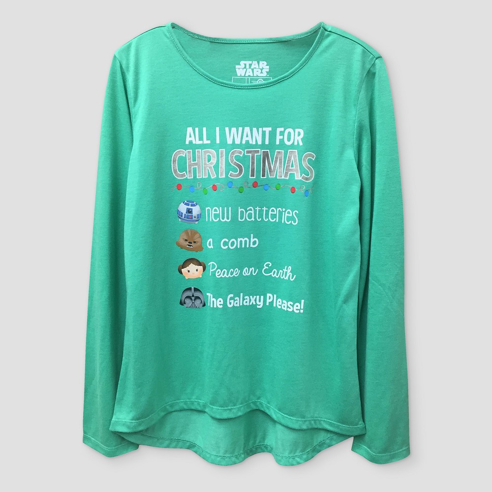 Girls' Star Wars All I Want For Christmas Graphic Long Sleeve T-Shirt - Green L