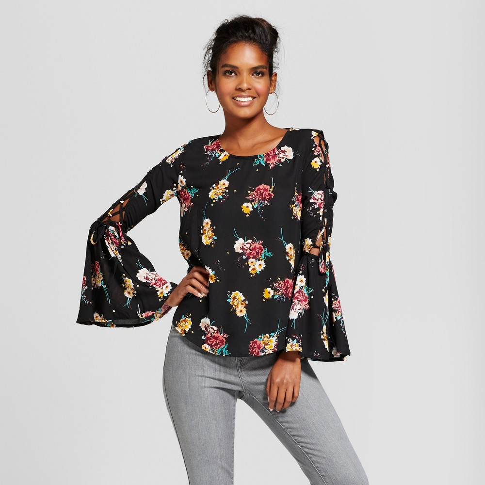 Womens Floral Bell Tie Sleeve Top - Lily Star (Juniors) Black S