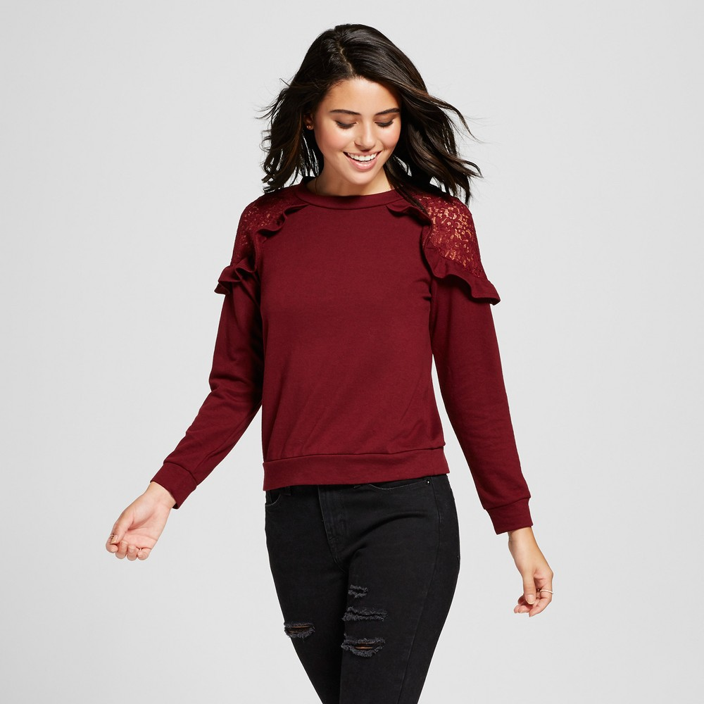 Women's Lace Ruffle Shoulder Pullover Sweatshirt - Lily Star (Juniors') Burgundy XL, Red