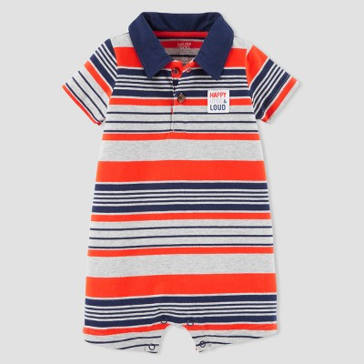 Baby Boys' Stripe Polo Romper - Just One You® made by carter's Gray/Red 12M