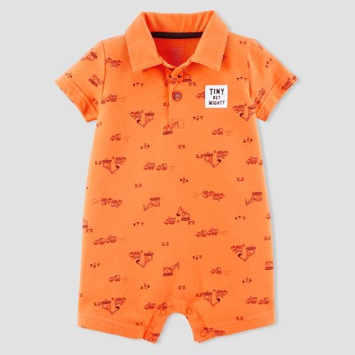 Baby Boys' Construction Polo Romper - Just One You® made by carter's Orange 9M