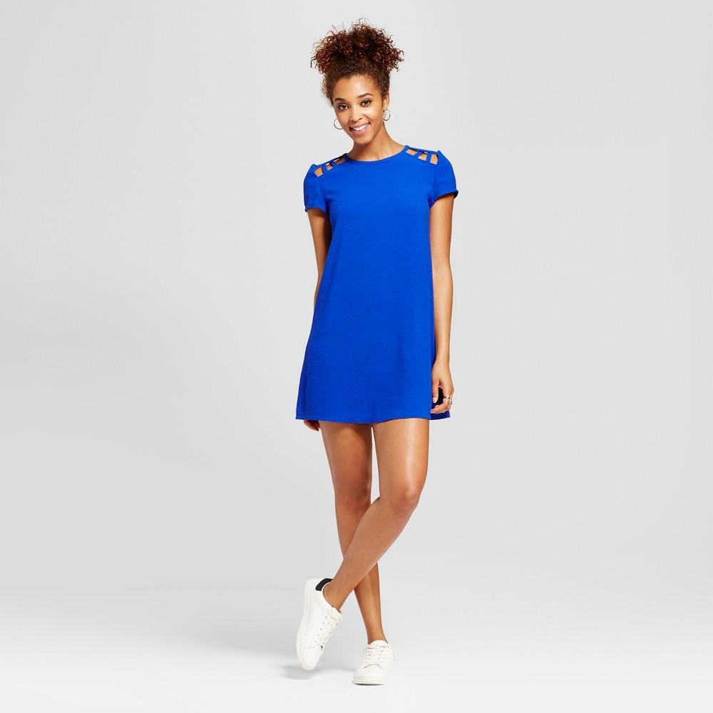Womens Lattice Shoulder Shift Dress - Lots of Love by Speechless (Juniors) Blue S