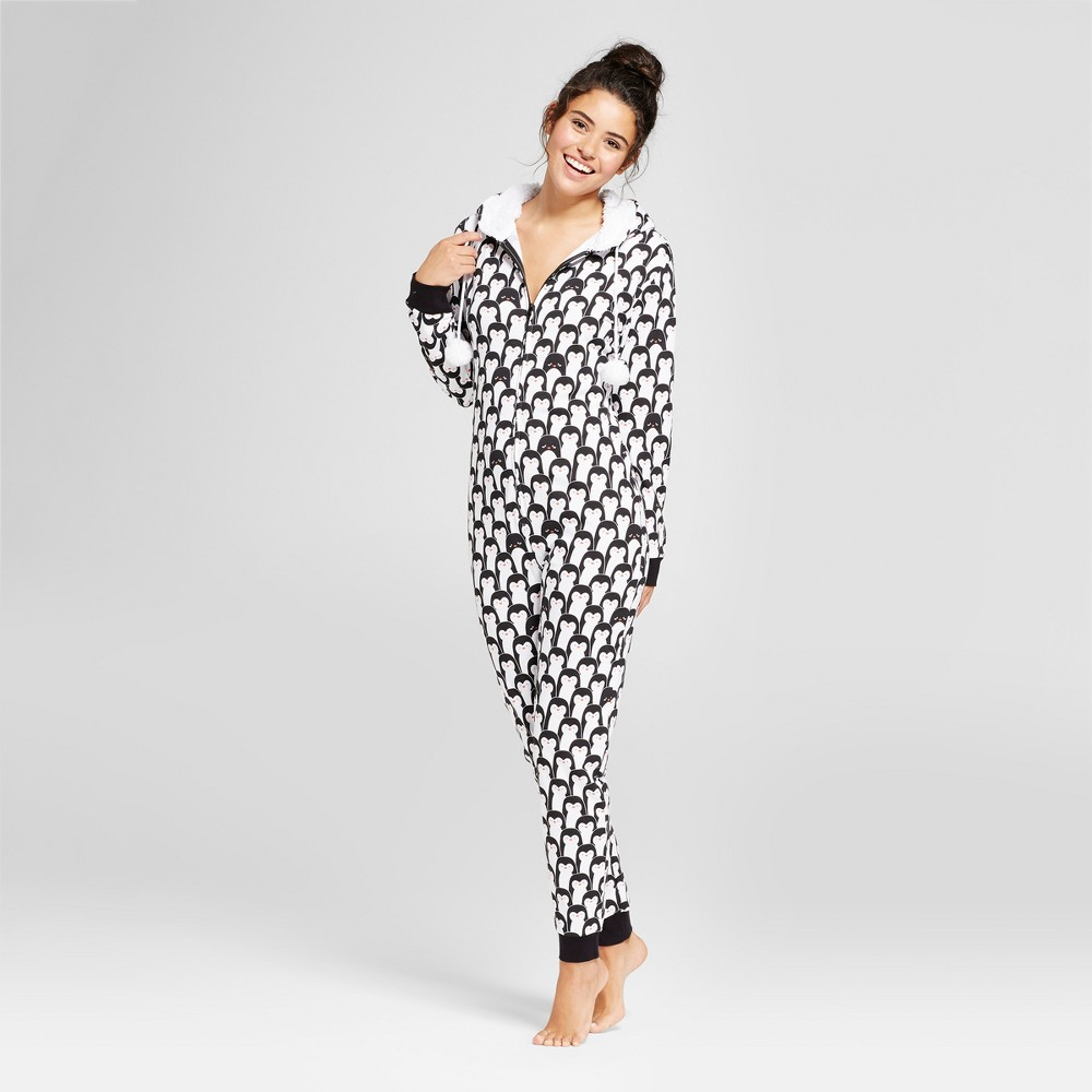 Womens Union Suits Pajama Drama S Black/white