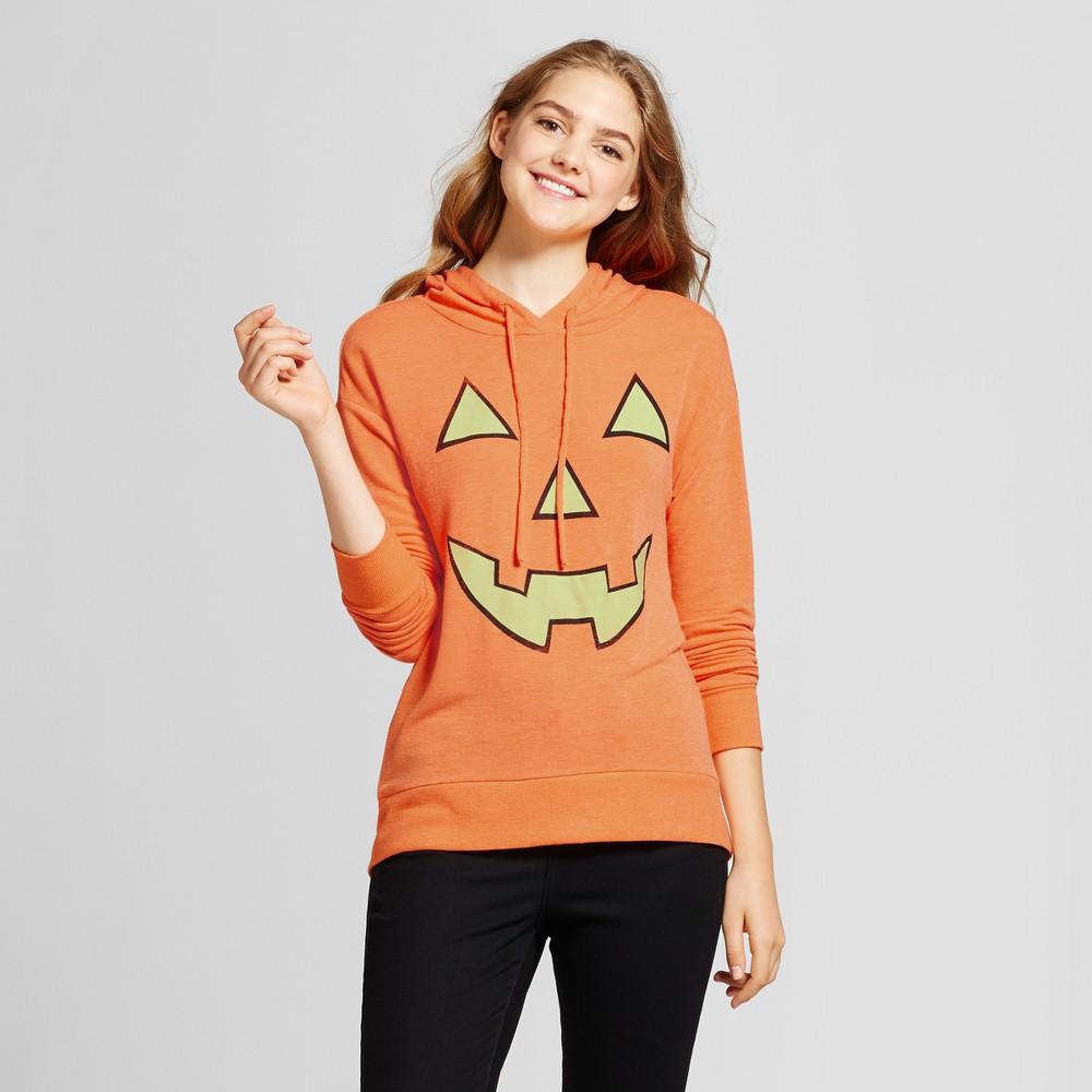 Womens Pumpkin Glow In The Dark Graphic Hooded Sweatshirt - Zoe+Liv (Juniors) Orange L