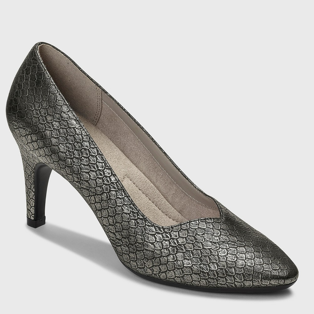 Womens A2 by Aerosoles Expert Snake Print Pumps - Silver 9.5 Wide Width