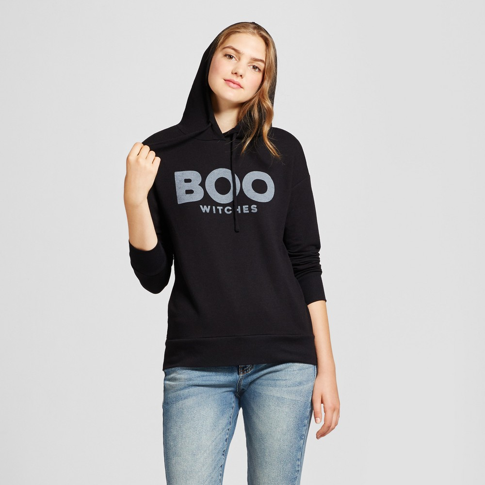 Womens Boo Witches Graphic Hooded Sweatshirt - Zoe+Liv (Juniors) Black M