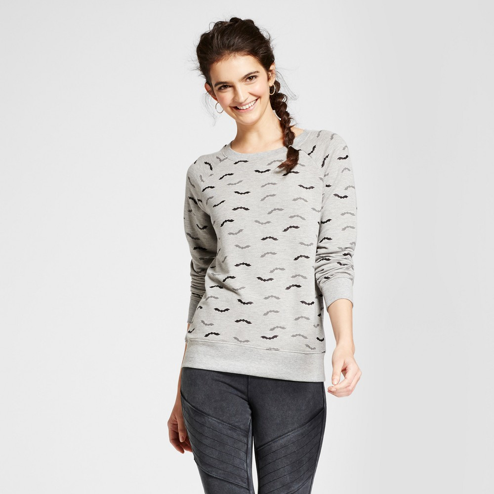 Womens All Over Bat Graphic Sweatshirt - Zoe+Liv (Juniors) Gray Xxl
