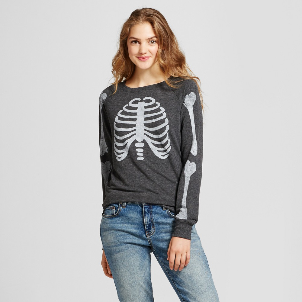 Womens Skeleton Graphic Sweatshirt - Zoe+Liv (Juniors) Charcoal M, Gray