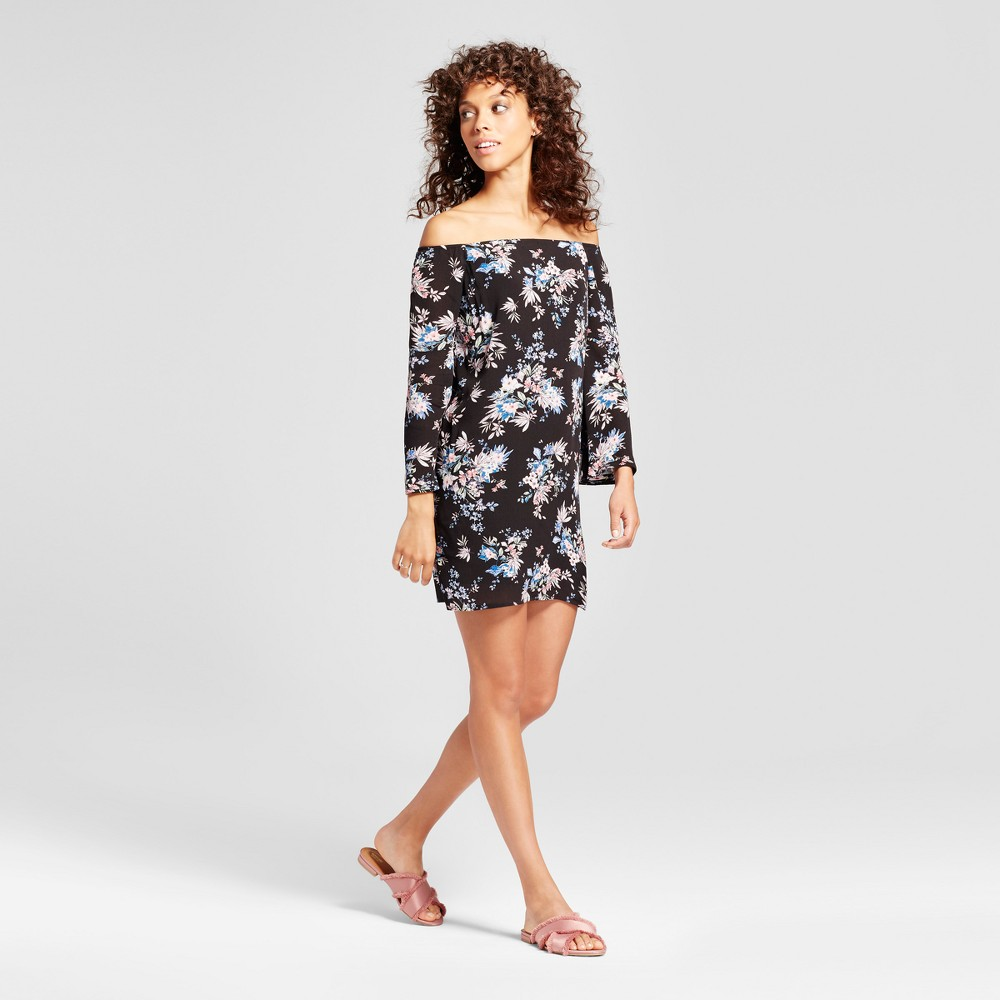 Womens Floral Off the Shoulder Bell Sleeve Dress - Necessary Objects Black/White S