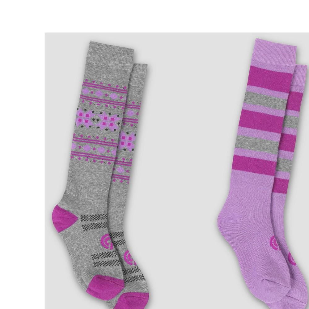 Girls 2pk Outdoor Otc Board Socks - C9 Champion Purple Stripe M, Multicolored