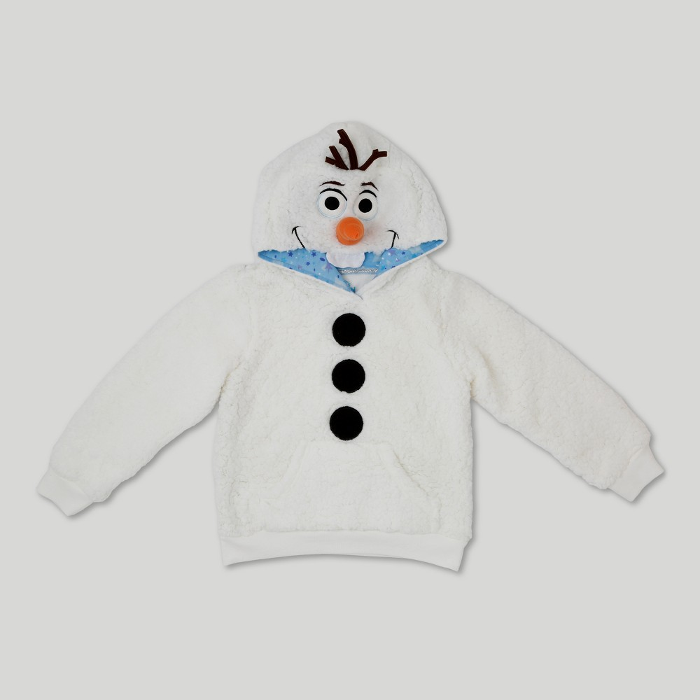 Girls Frozen Olaf Costume Hoodie - White L