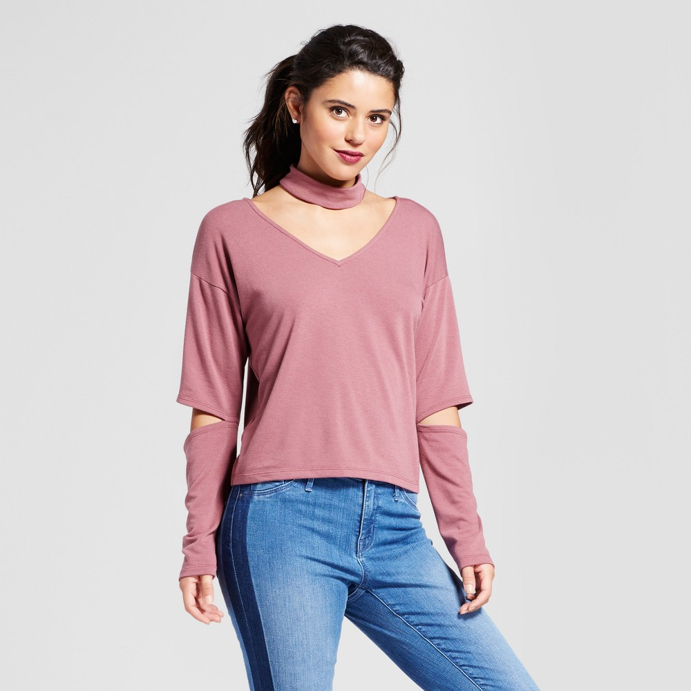 Womens Statement Sleeve Choker Top - Le Kate (Juniors) Mauve L, Red