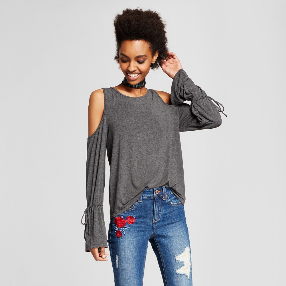 Womens Cold Shoulder Bell Sleeve Top - Le Kate (Juniors) Gray L