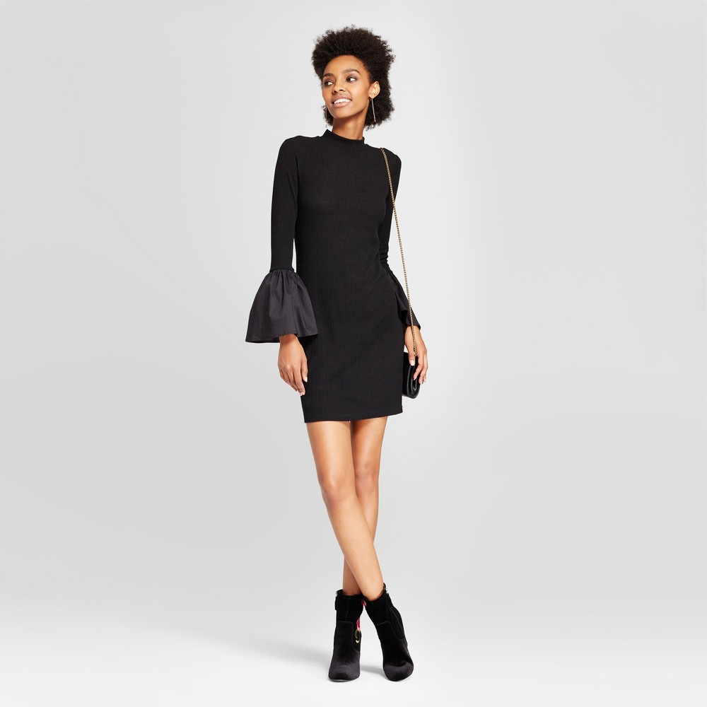 Womens Mock Neck Bell Sleeve Dress - Le Kate (Juniors) Black S