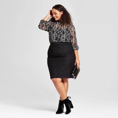 Plus Size Black Pencil Skirt