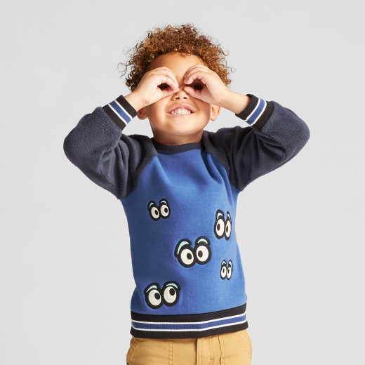 ef2ed1ed19a Toddler Boys  Genuine Kids from OshKosh Long Sleeve Googly Eye Sweatshirt –  Blue 12M