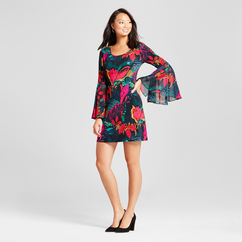 Womens Floral Printed Bell sleeve Shift Dress - Chiasso Black Multi XL, Pink