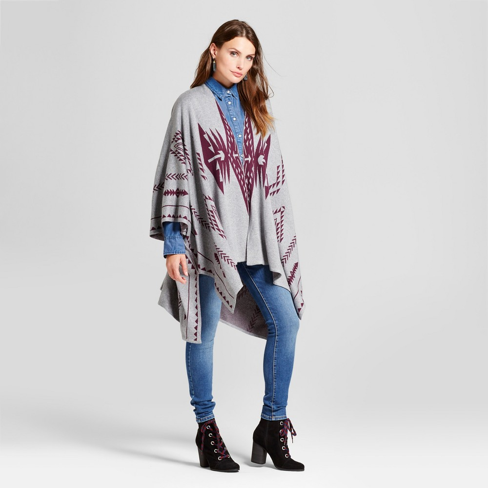 Womens Plus Size Open front Poncho Jacquard Poncho - One Size Ciara Heather Green, Gray