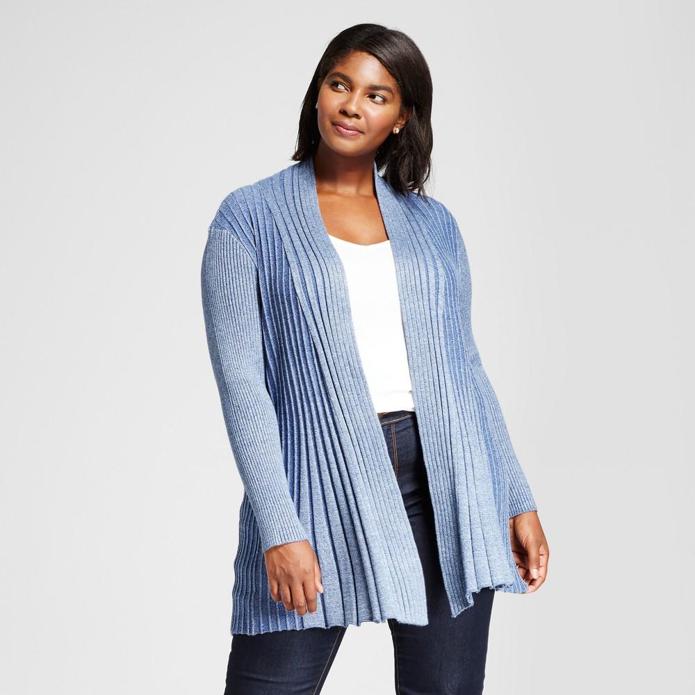 Womens Plus Size Long Sleeve Marled Fan Stitch Cardigan Sweater - Notations Blue 2X