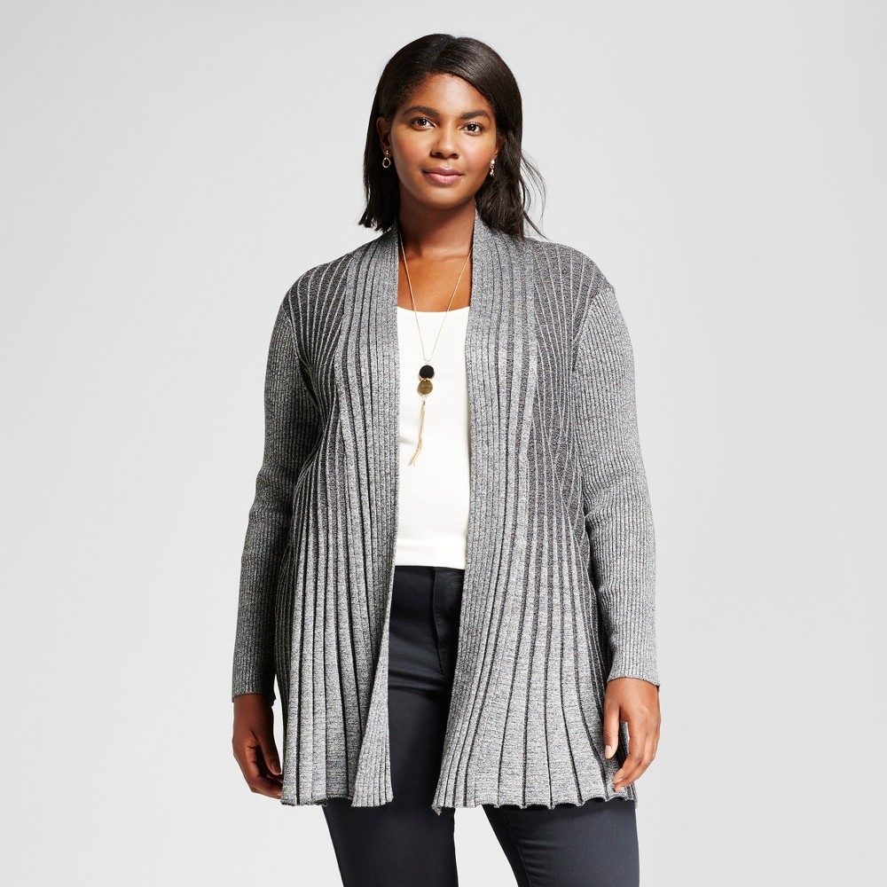 Womens Plus Size Long Sleeve Marled Fan Stitch Cardigan Sweater - Notations Black/White 1X
