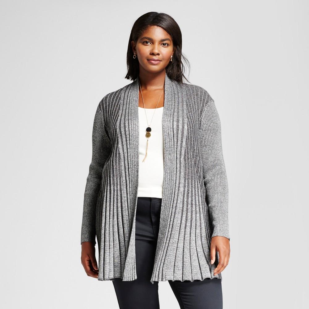 Womens Plus Size Long Sleeve Marled Fan Stitch Cardigan Sweater - Notations Black/White 2X