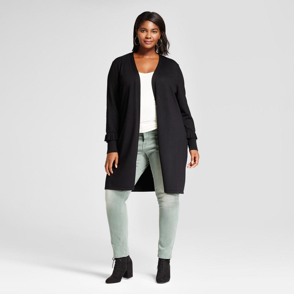 Womens Plus Size Long Sleeve Ruffled Sleeve Duster Cardigan Sweater - Notations Black 3X