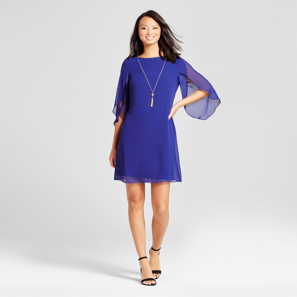 Womens Woven Dress with Chiffon Sleeve and Necklace - Chiasso Cobalt 14, Blue