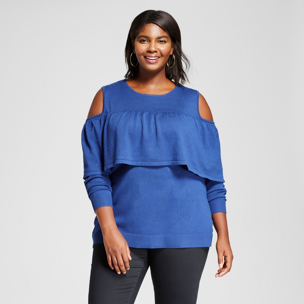 Womens Plus Size Long Sleeve Cold Shoulder Flounce Pullover Sweater - Notations Blue 2X