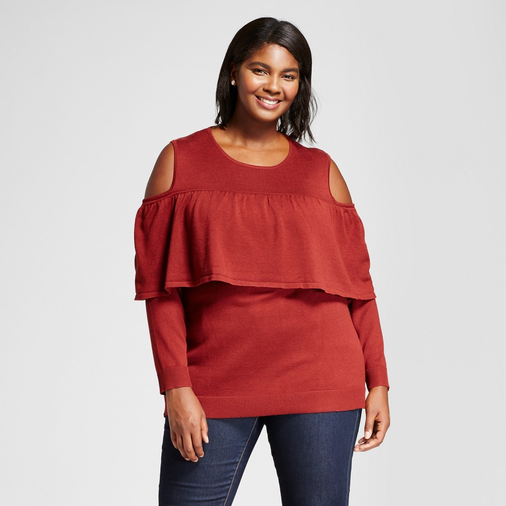 Womens Plus Size Long Sleeve Cold Shoulder Flounce Pullover Sweater - Notations Red 1X