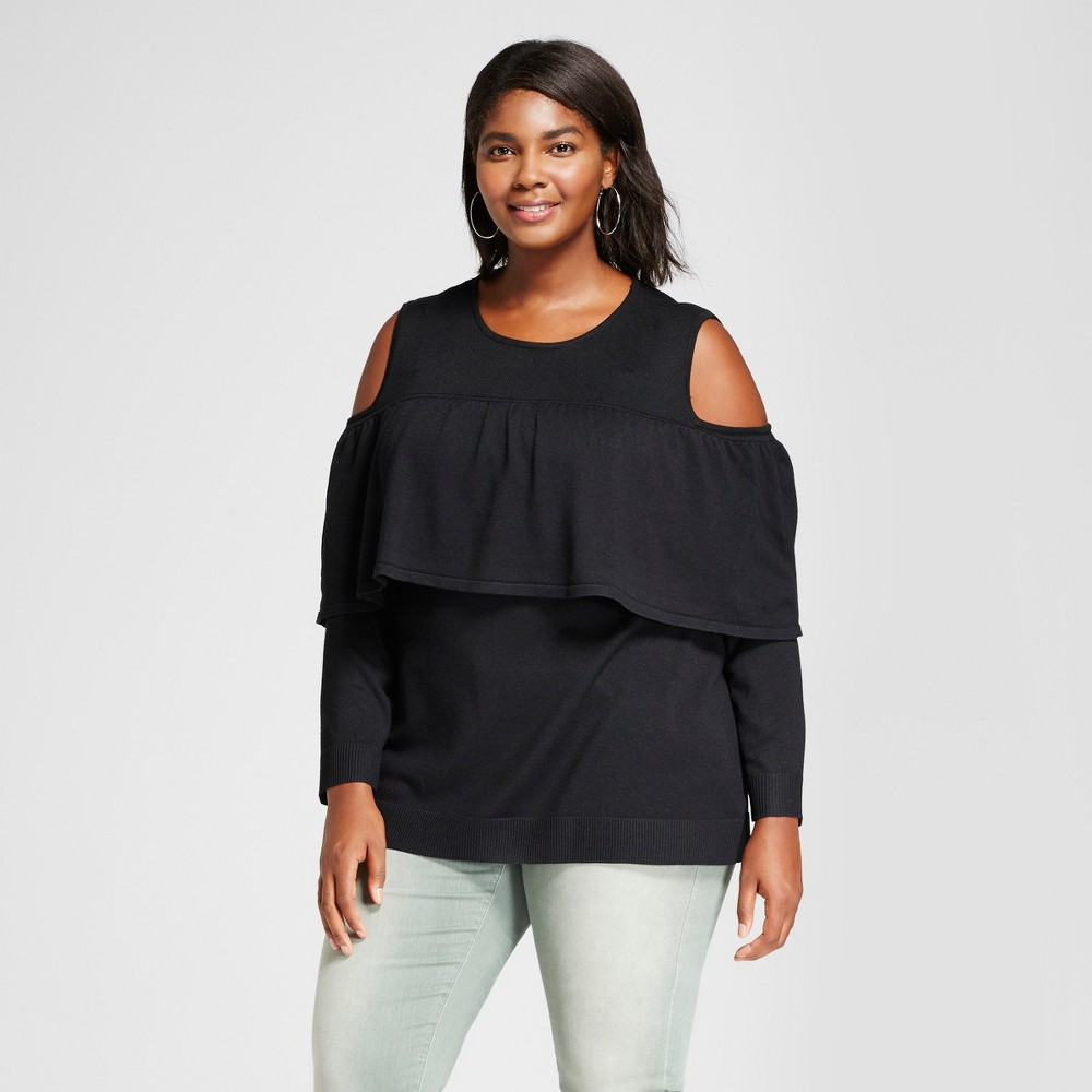 Womens Plus Size Long Sleeve Cold Shoulder Flounce Pullover Sweater - Notations Black 1X