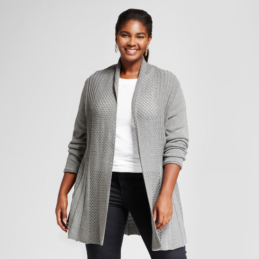 Womens Plus Size Long Sleeve Open Fan Stitch Cardigan Sweater - Notations Gray 3X