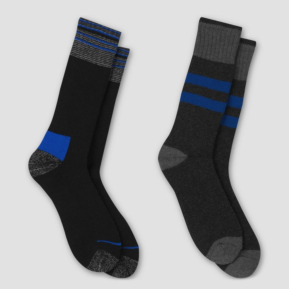 Mens Outdoor Heavyweight Wool Blend Thermal Crew Socks 2pk - C9 Champion 6-12, Blue