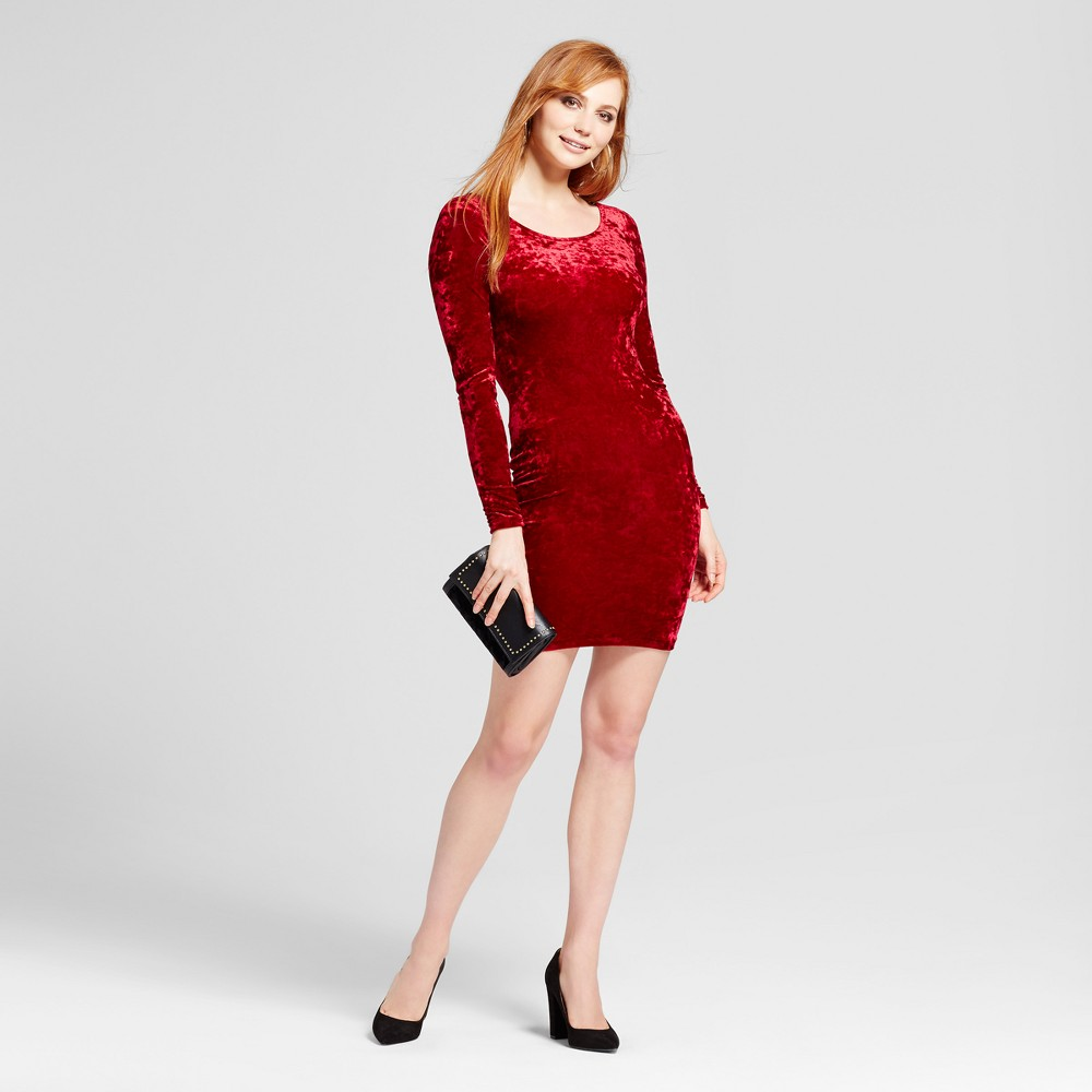 Womens Scoop Back Velvet Bodycon Dress - Necessary Objects Burgundy L, Red