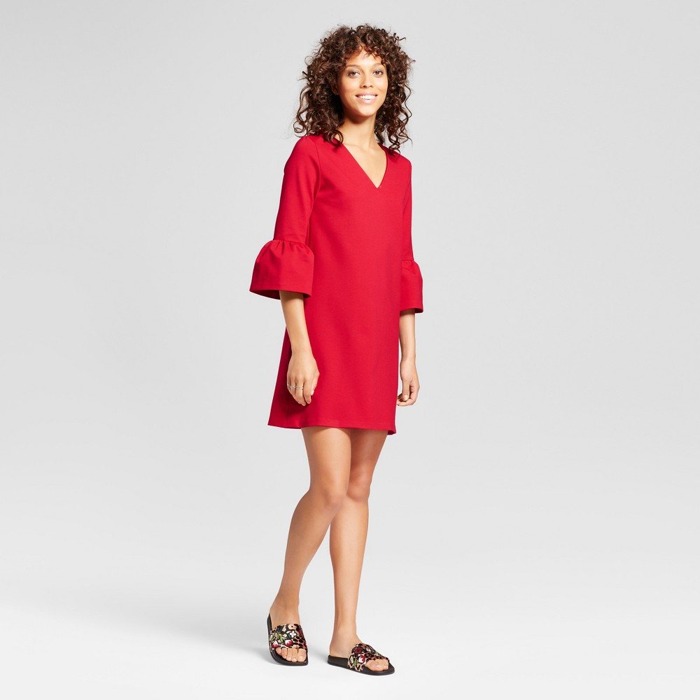 Womens V-Neck Ponte Bell Sleeve Dress - Necessary Objects Red L