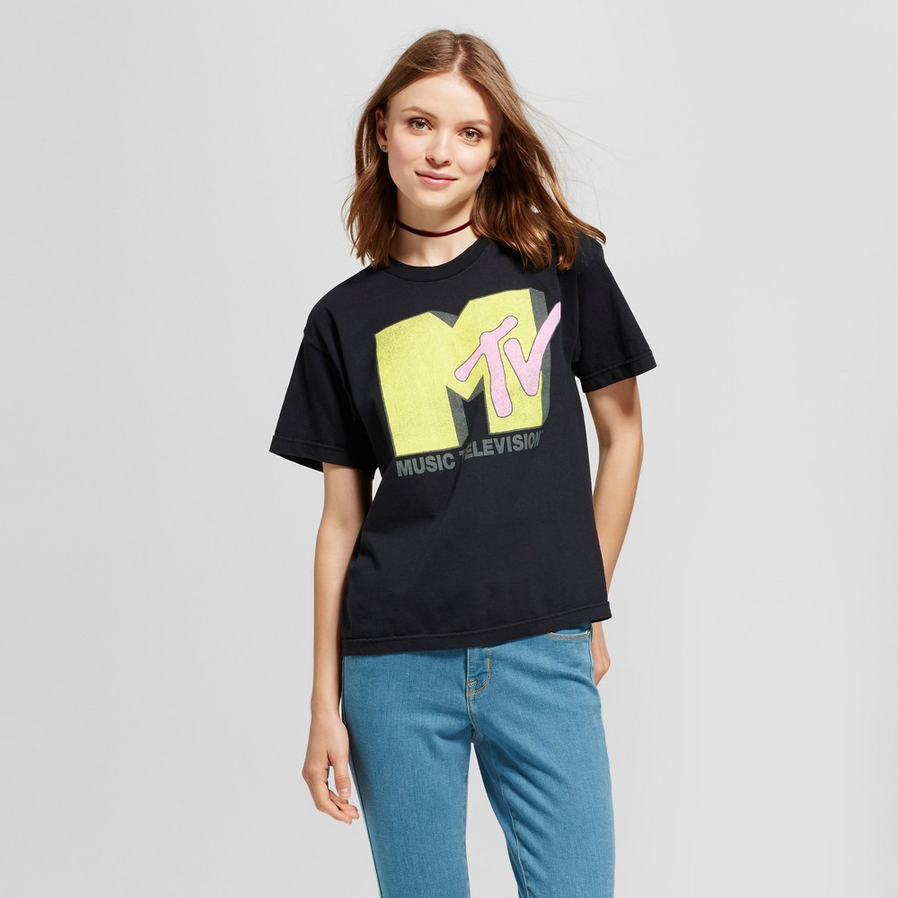 Womens Mtv Boyfriend Fit Graphic T-Shirt Black M (Juniors)